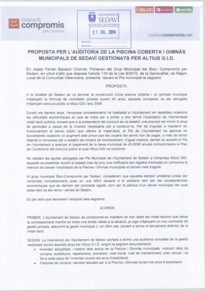 PROPOSTA PER L'AUDITORIA DE LA PISCINA COBERTA I GIMNA`S MUNICIPALS DE SEDAVI´ GESTIONATS PER ALTIUS G