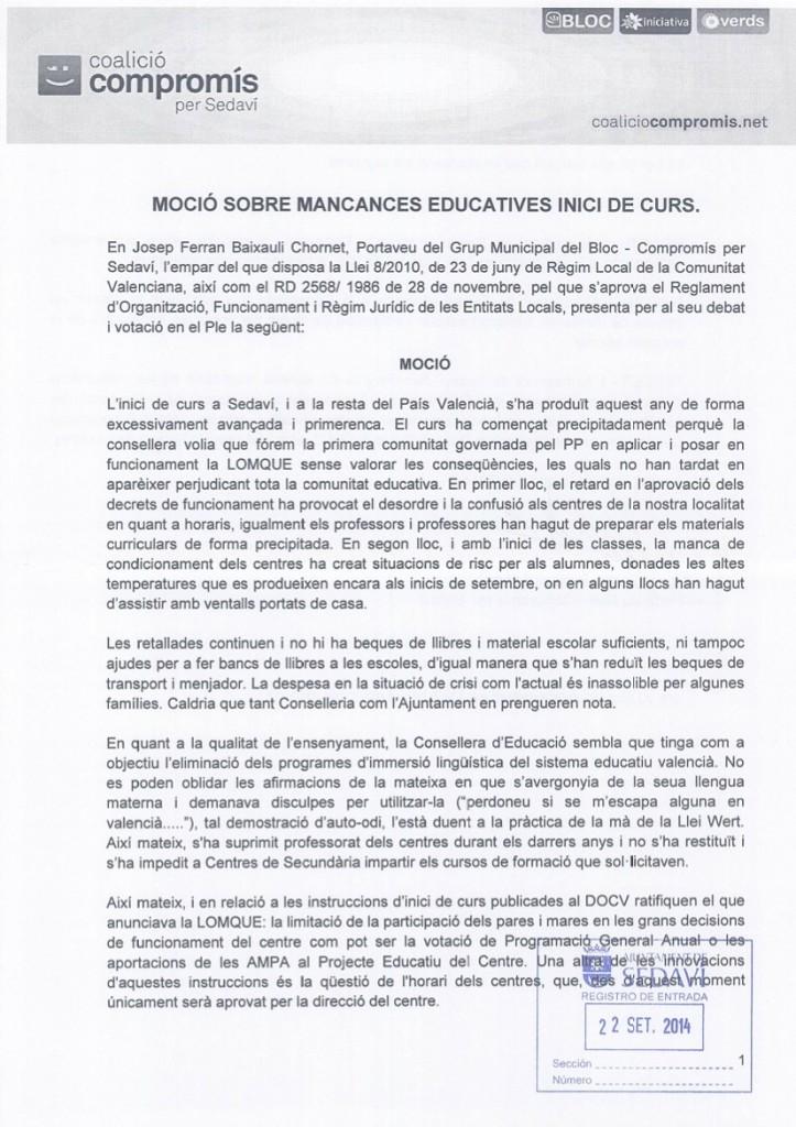 MOCIÓ INICI CURS 2014